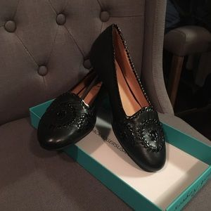 Black leather Jack Rogers flats